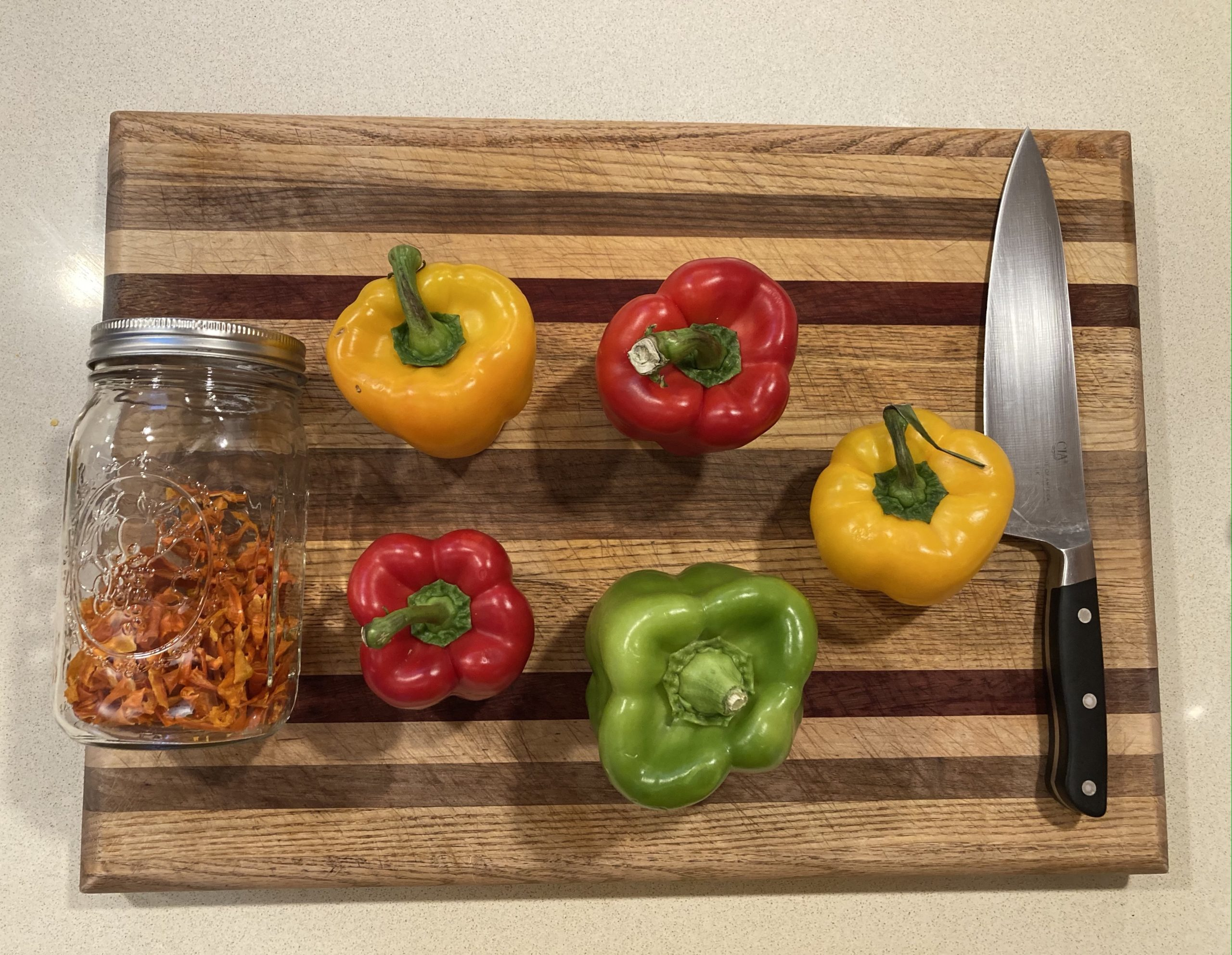 Dehydrating bell peppers for the appalachian trail