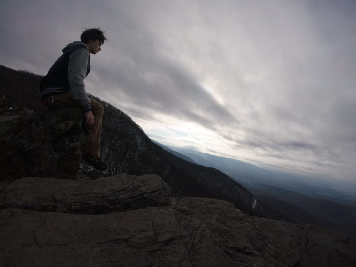 Sitting on top of a crag in VA in 2018