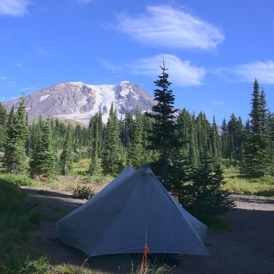 Camping on the trail near Mt. Adams