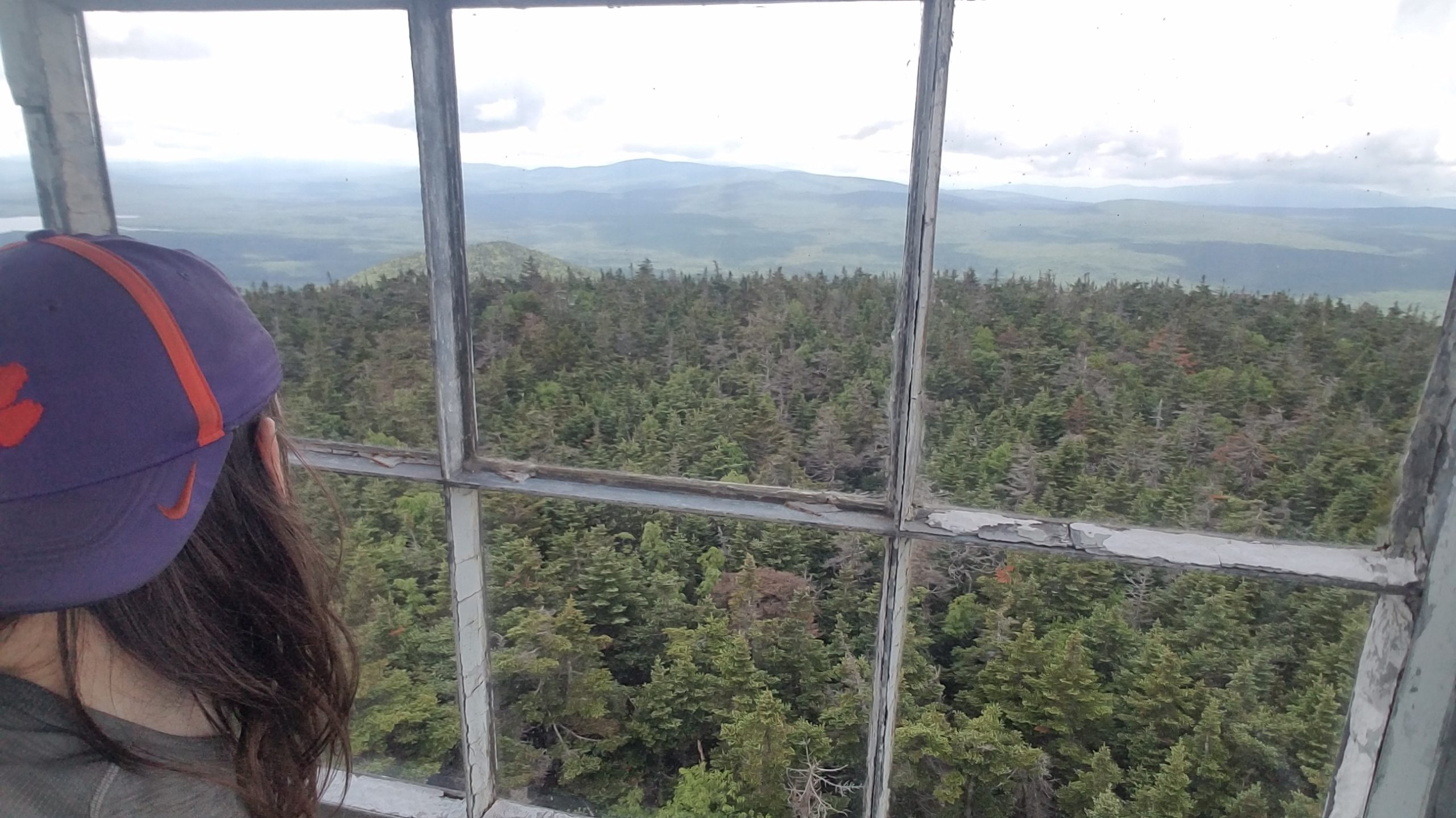 Standing inside Stratton fire tower