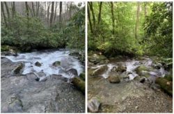 comparison photos of deep creek with the photo on the left at a much higher level than the right