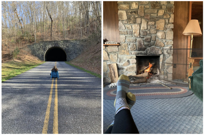 left: woman seated in the middle of the Blue Ridge Parkway in front of tunnel. Right: Woman's socks in front of cabin fireplace.