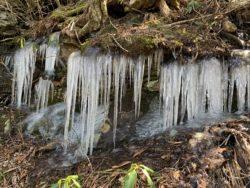 frozen icicles on a boulder