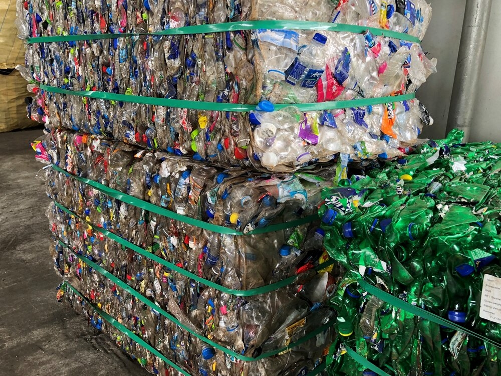 Image via EcoPak - bottles ready to be recycled